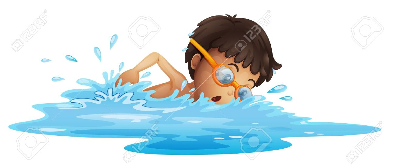 Illustration of a young boy swimming with a yellow goggles on a white background Stock Vector - 19645171