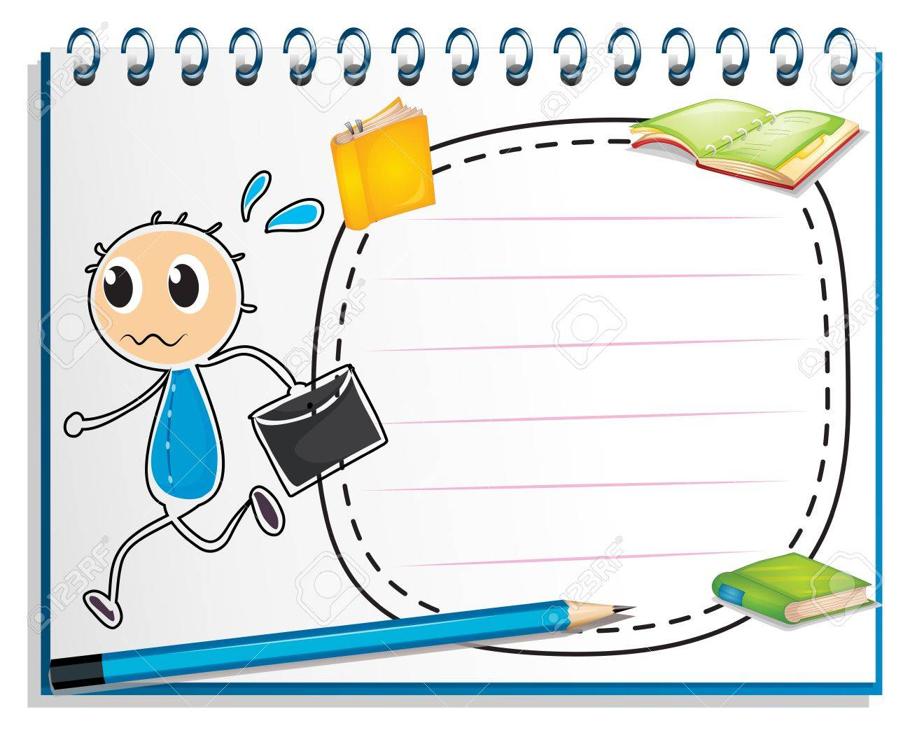 Illustration of a notebook with a drawing of a boy holding an envelope on a white background Stock Vector - 19645239