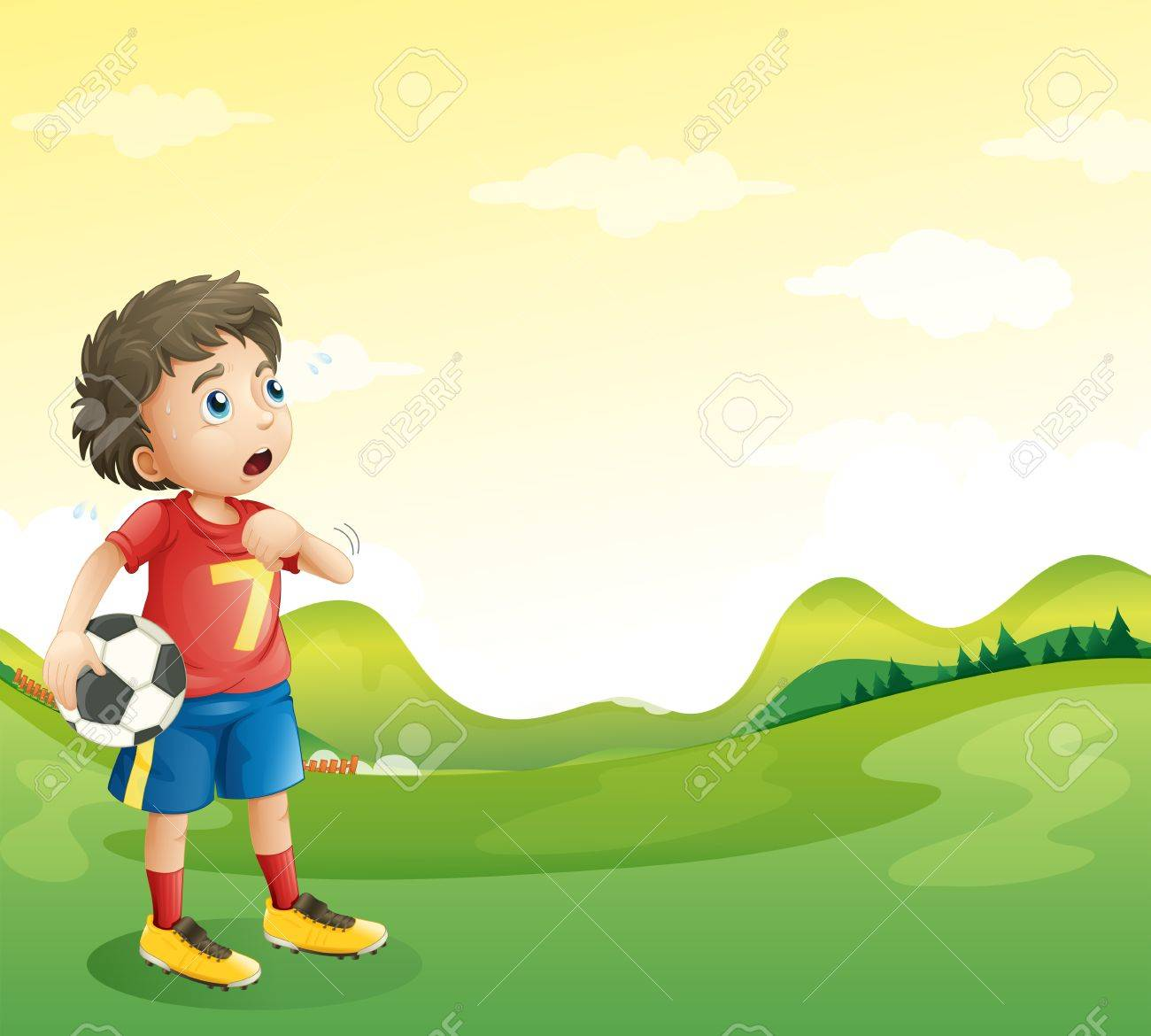 Illustration of a tired young soccer player in his red uniform Stock Vector - 19645250