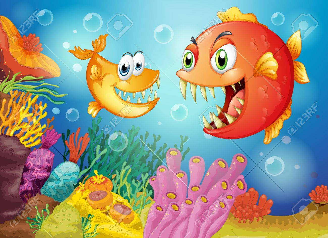 Illustration of the two fishes with big fangs under the sea Stock Vector - 19645433