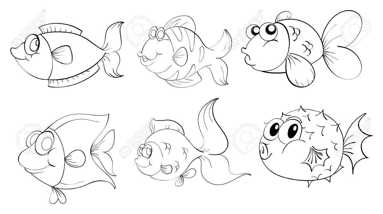 Illustration of the different fishes in a doodle design on a white background Stock Vector - 19645257
