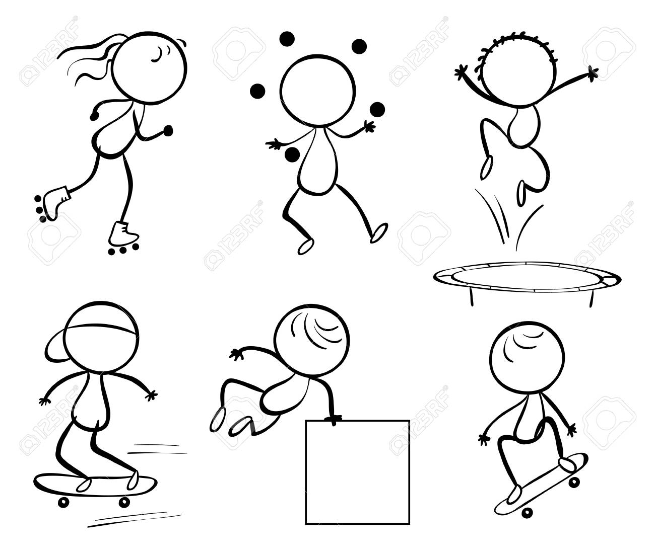 Illustration of the silhouettes of the different activities on a white background Stock Vector - 19645146
