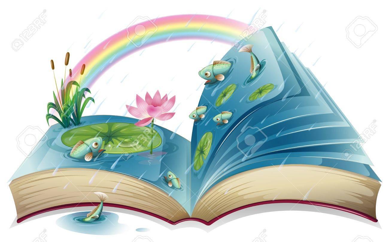 Illustration D Un Livre Avec Une Image D Un Etang Sur Un Fond Blanc