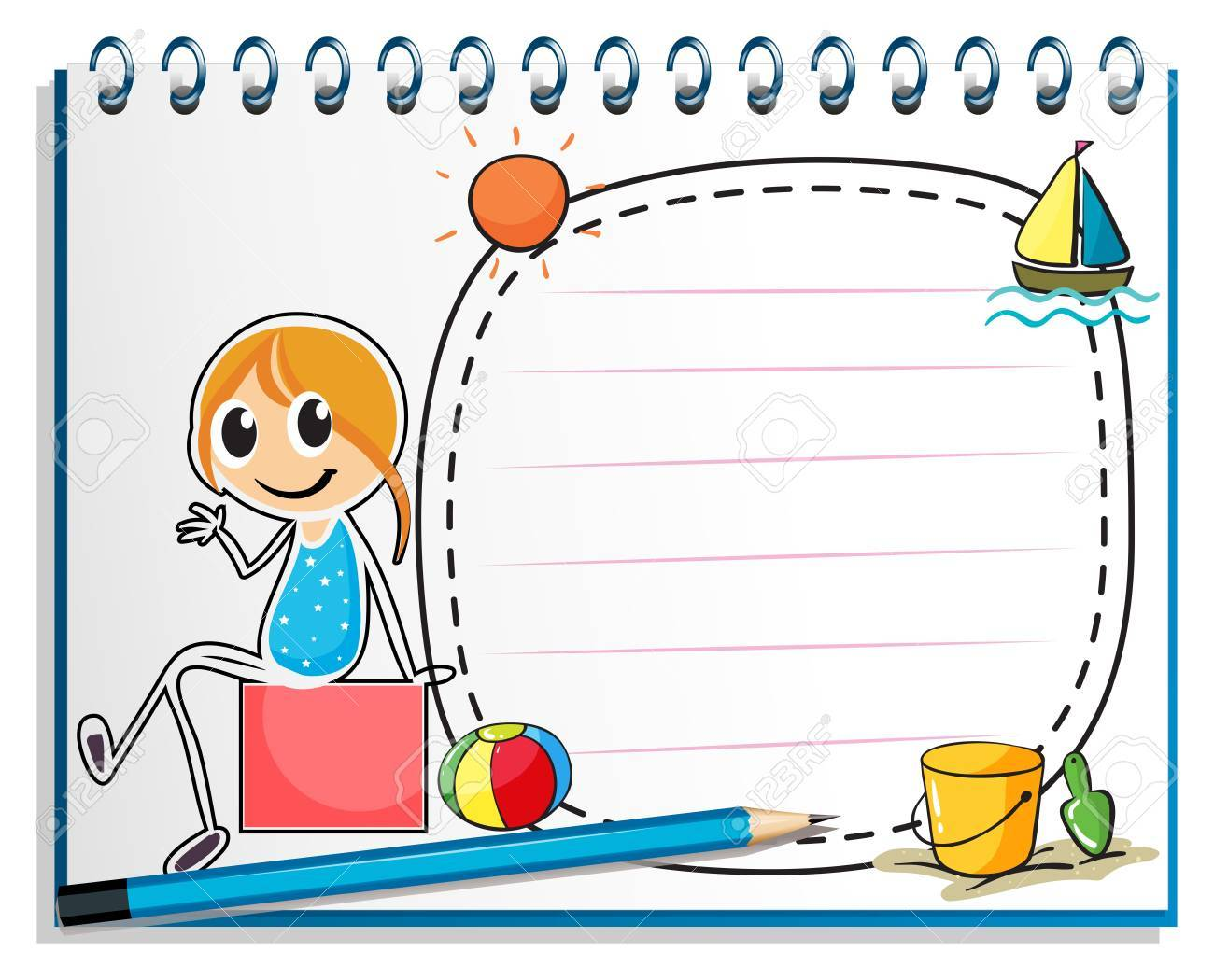 Illustration of a notebook and a pencil with an image of a girl sitting on a box on a white background Stock Vector - 19645139