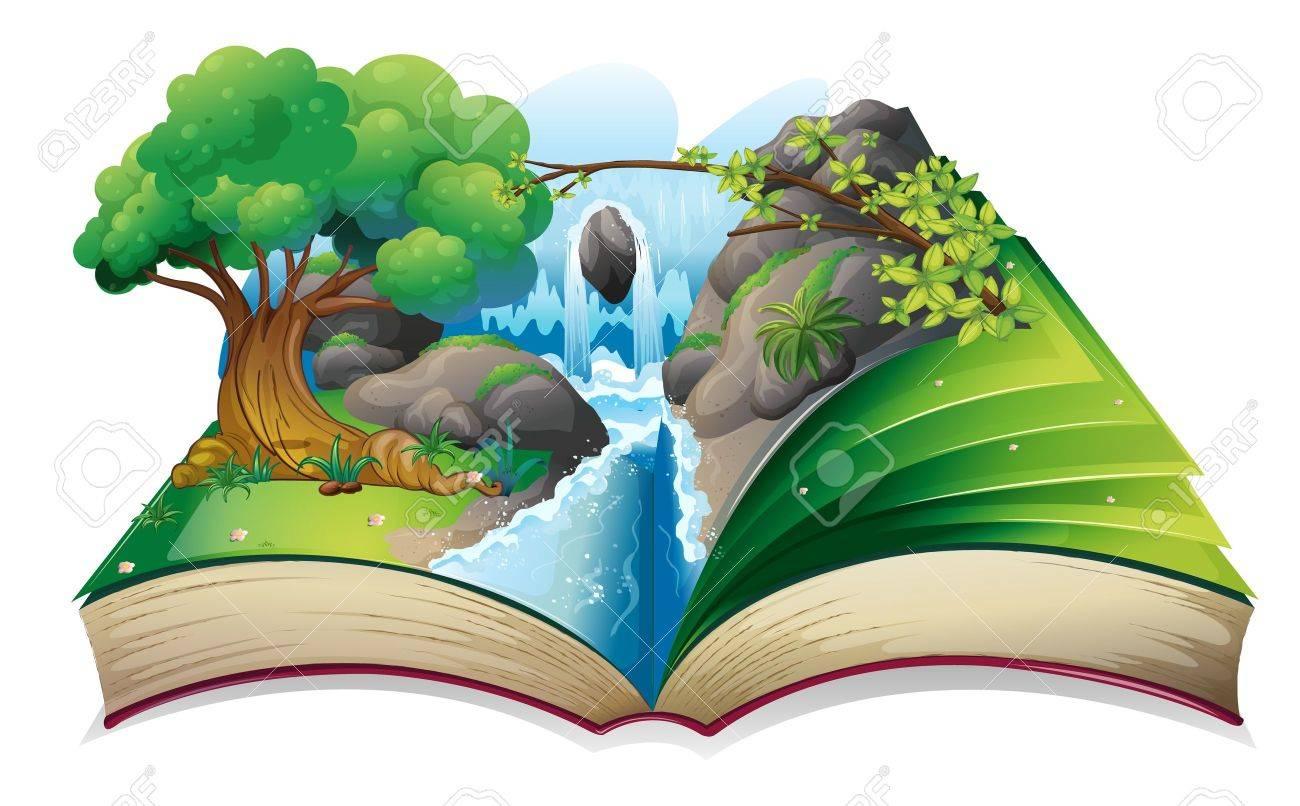 白い背景の上の森のイメージと、本のイラスト ロイヤリティフリー