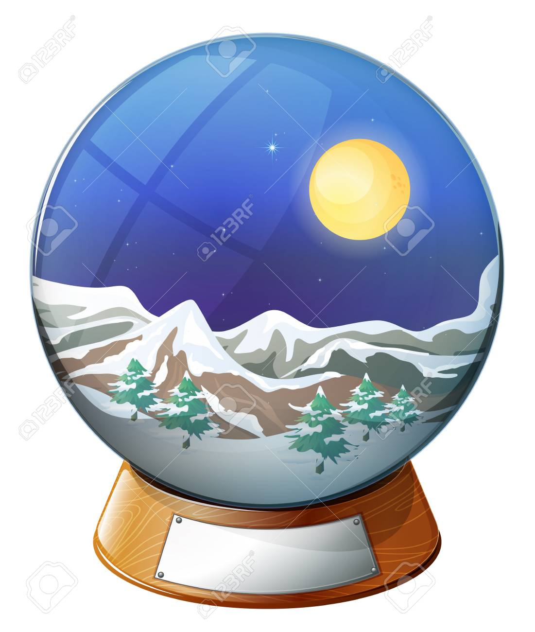 Illustration of a dome with an image of a snowy mountain on a white background Stock Vector - 19645418