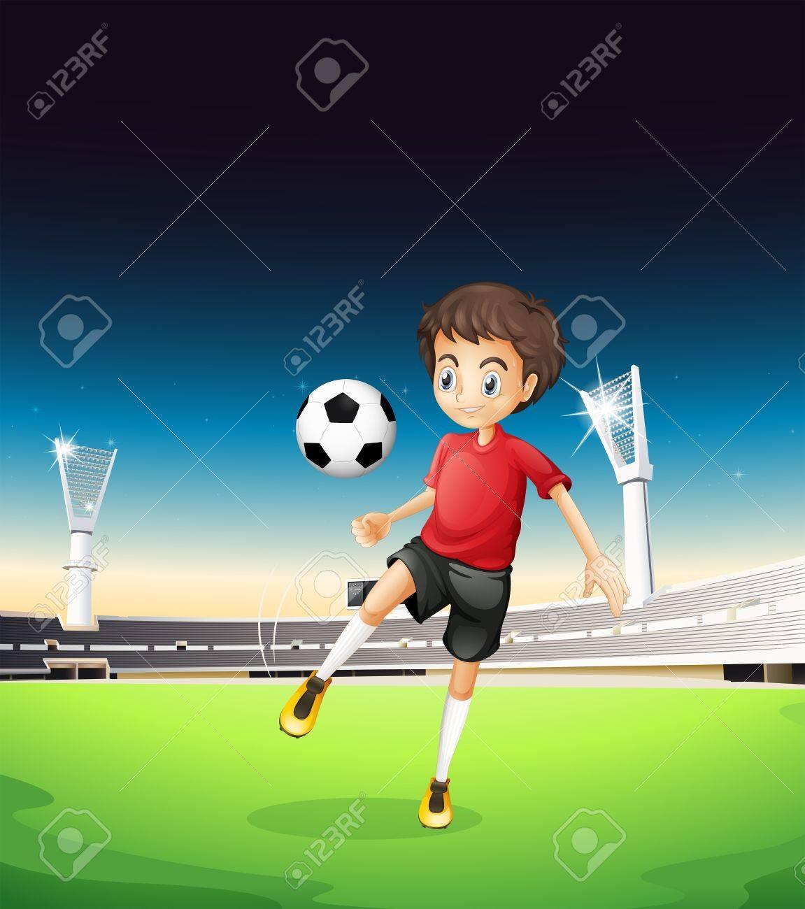 Ilustración De Un Niño Jugando Solo Futbol Ilustraciones Vectoriales ... f2ebebc2fc922
