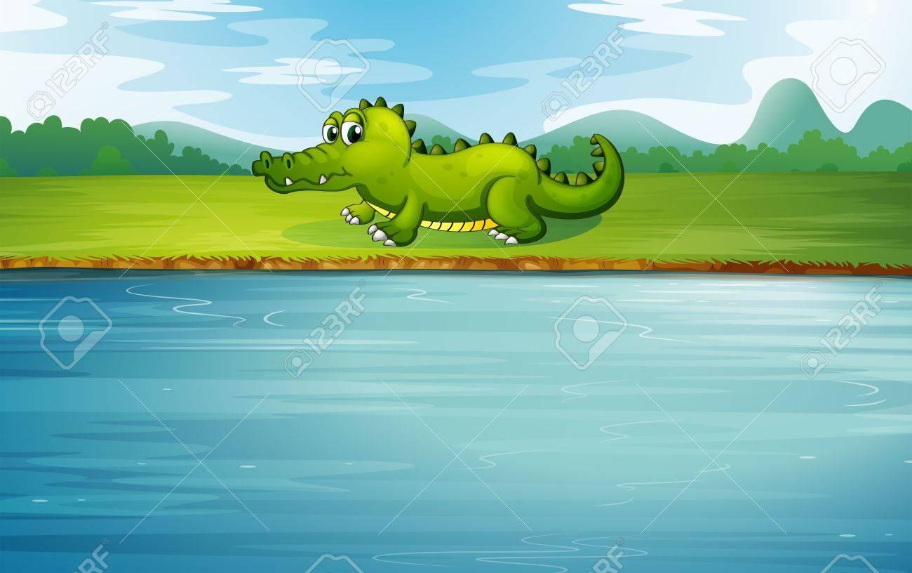 Illustration of an alligator at the riverside Stock Vector - 19717695
