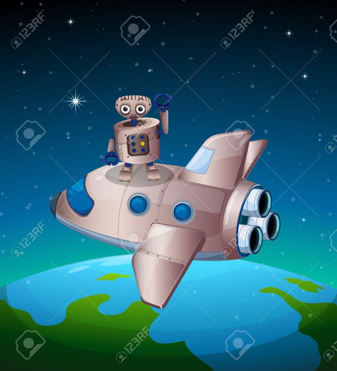 宇宙船の上ロボットのイラストのイラスト素材ベクタ Image 19717665
