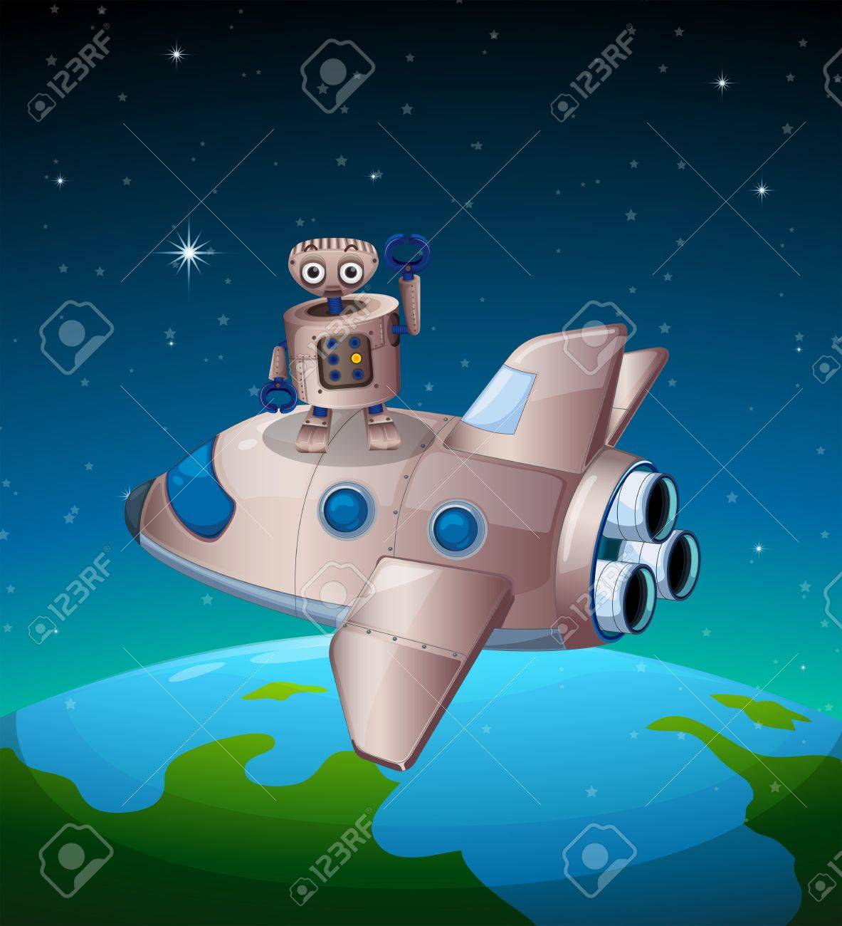 Illustration of a robot above the spaceship Stock Vector - 19717665