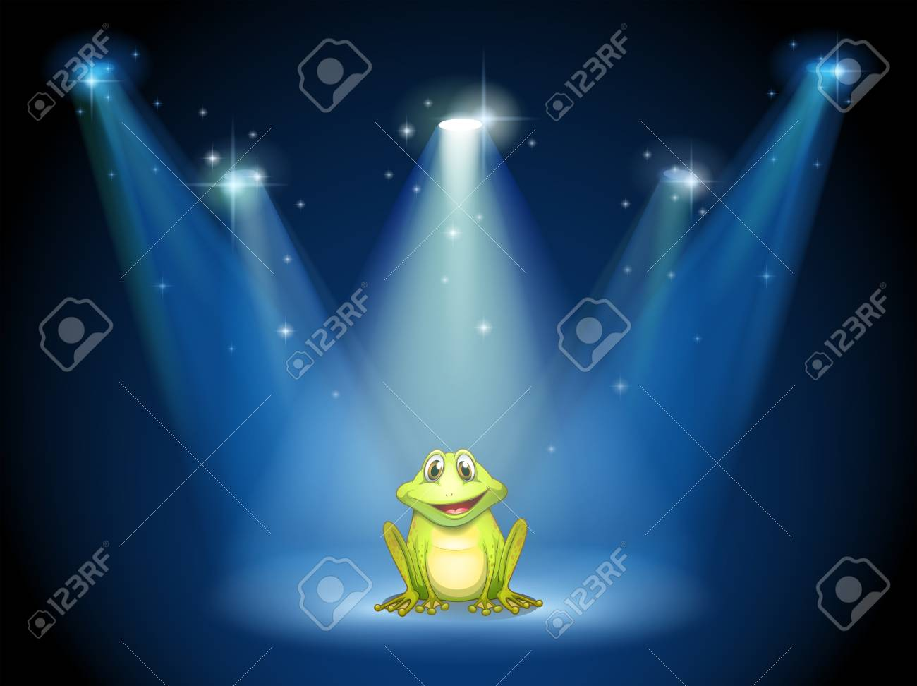 Illustration of a smiling frog at the center of the stage Stock Vector - 19718720