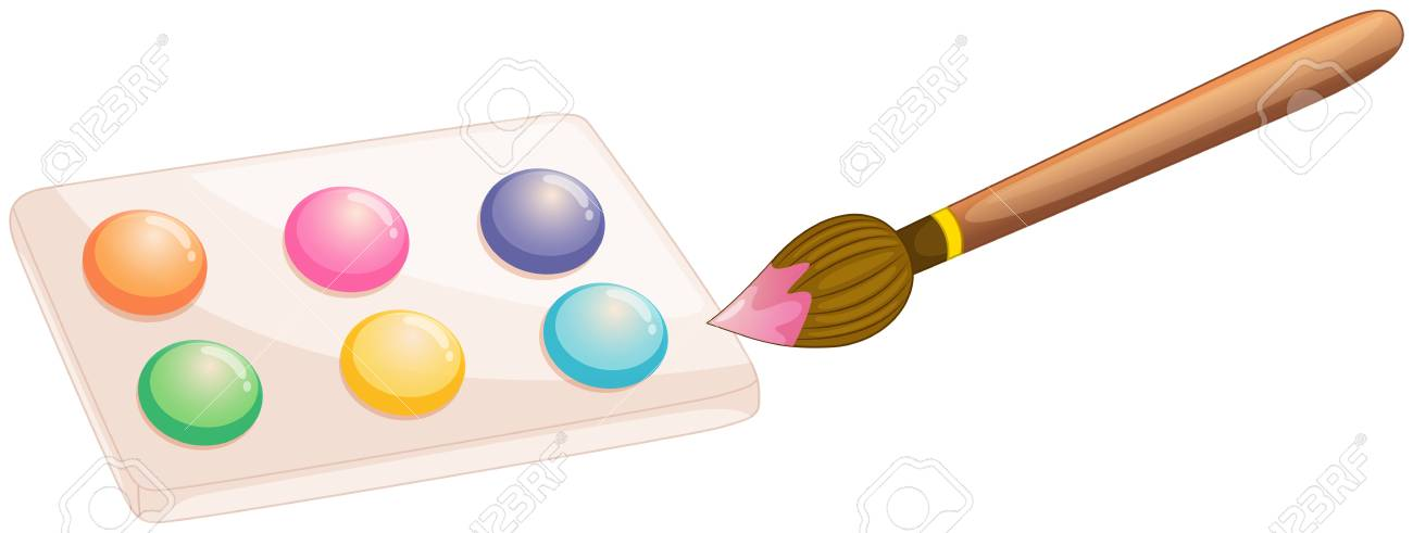 Illustration of a water color with paint brush on a white background Stock Vector - 19717616