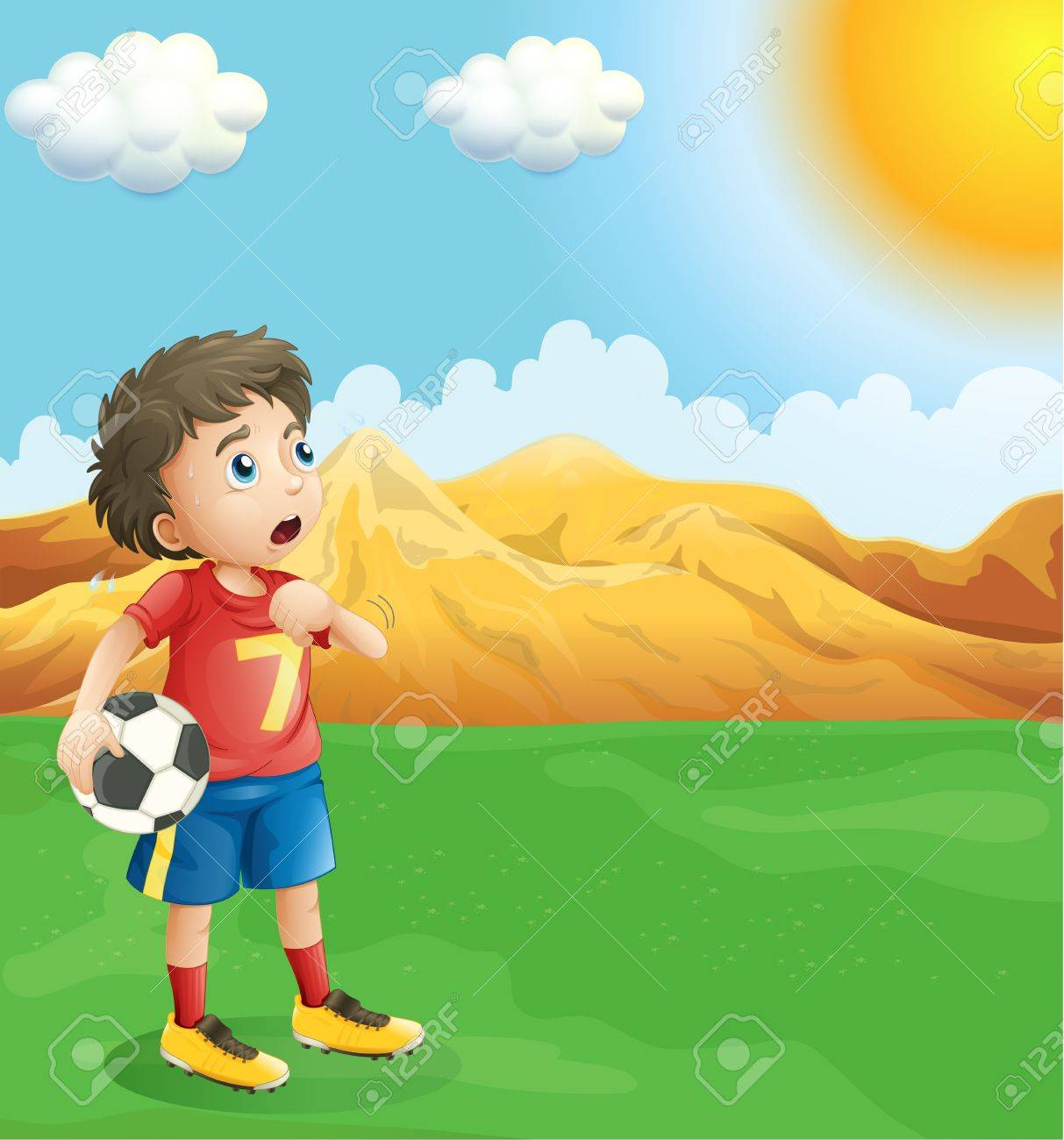 Illustration of a boy holding a soccer ball sweating Stock Vector - 19717653