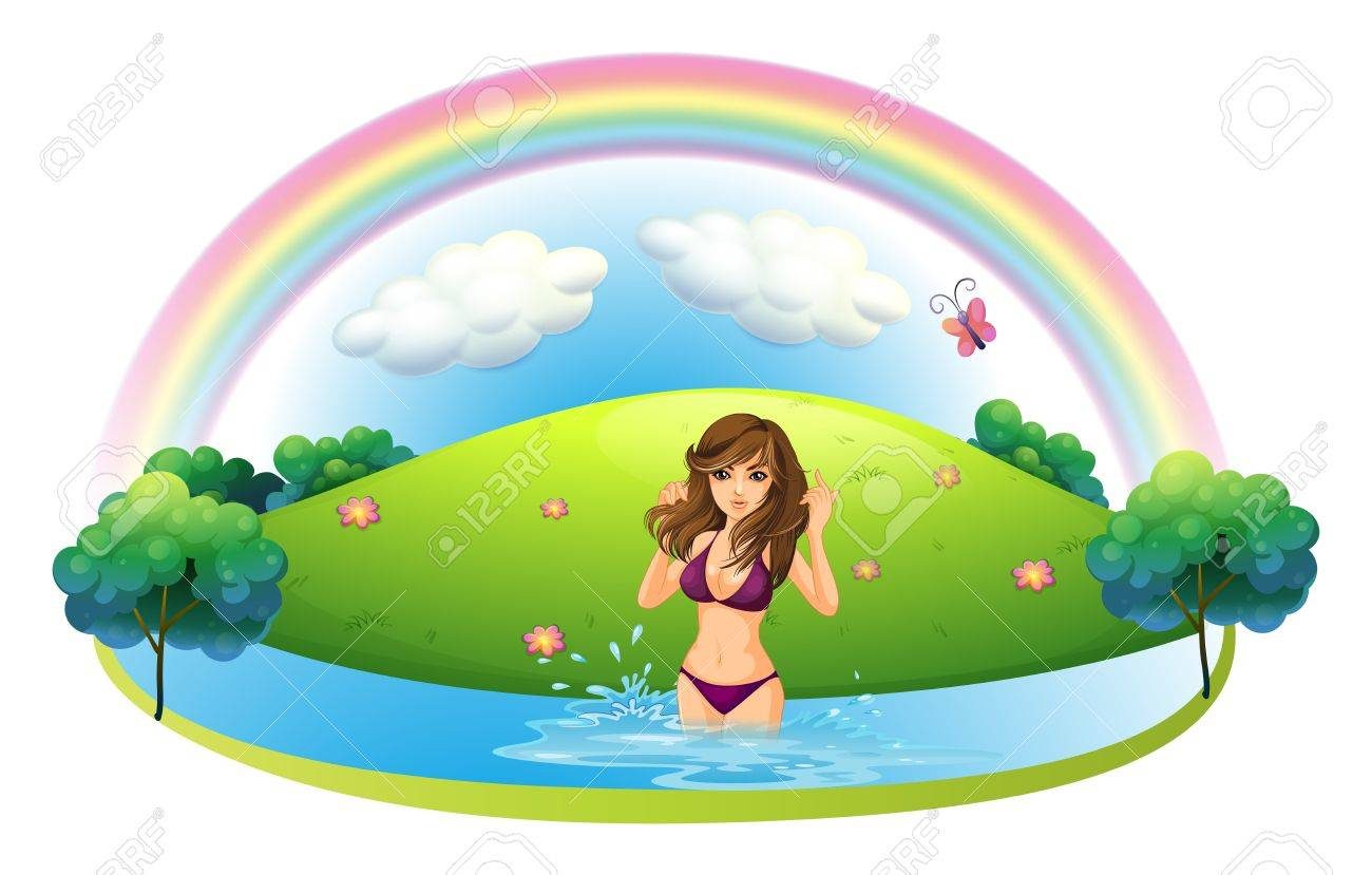 Illustration of a sexy lady in bikini at the beach on a white background Stock Vector - 19855759