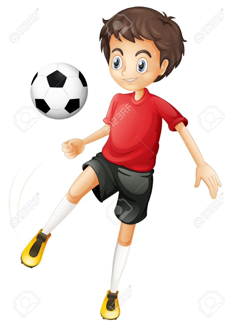 Illustration of a young man playing football on a white background Stock Vector - 19873702