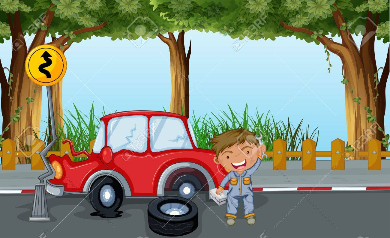 Illustration of a boy with tools and a red car at the road Stock Vector - 19873839