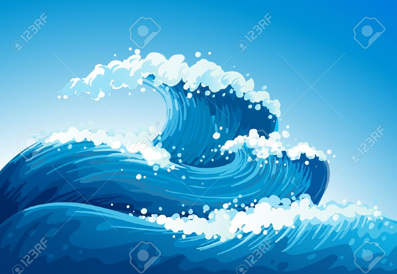 巨大な波と海のイラストのイラスト素材ベクタ Image 19872484