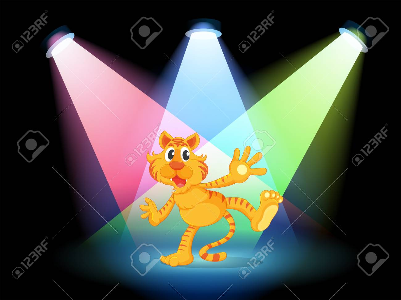 Illustration of a tiger in the middle of the stage Stock Vector - 19874407
