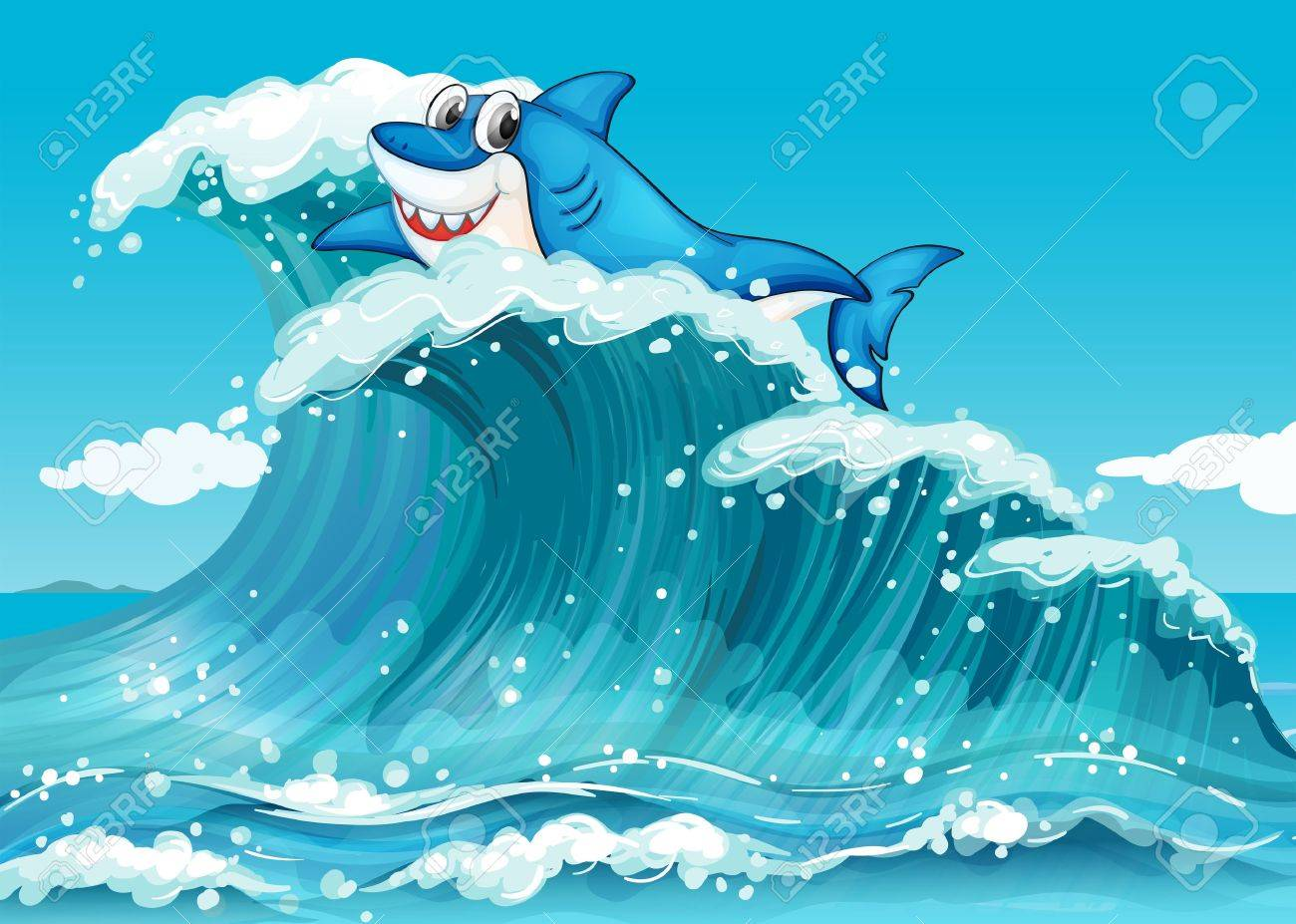 Illustration of a shark above the big waves Stock Vector - 19874683