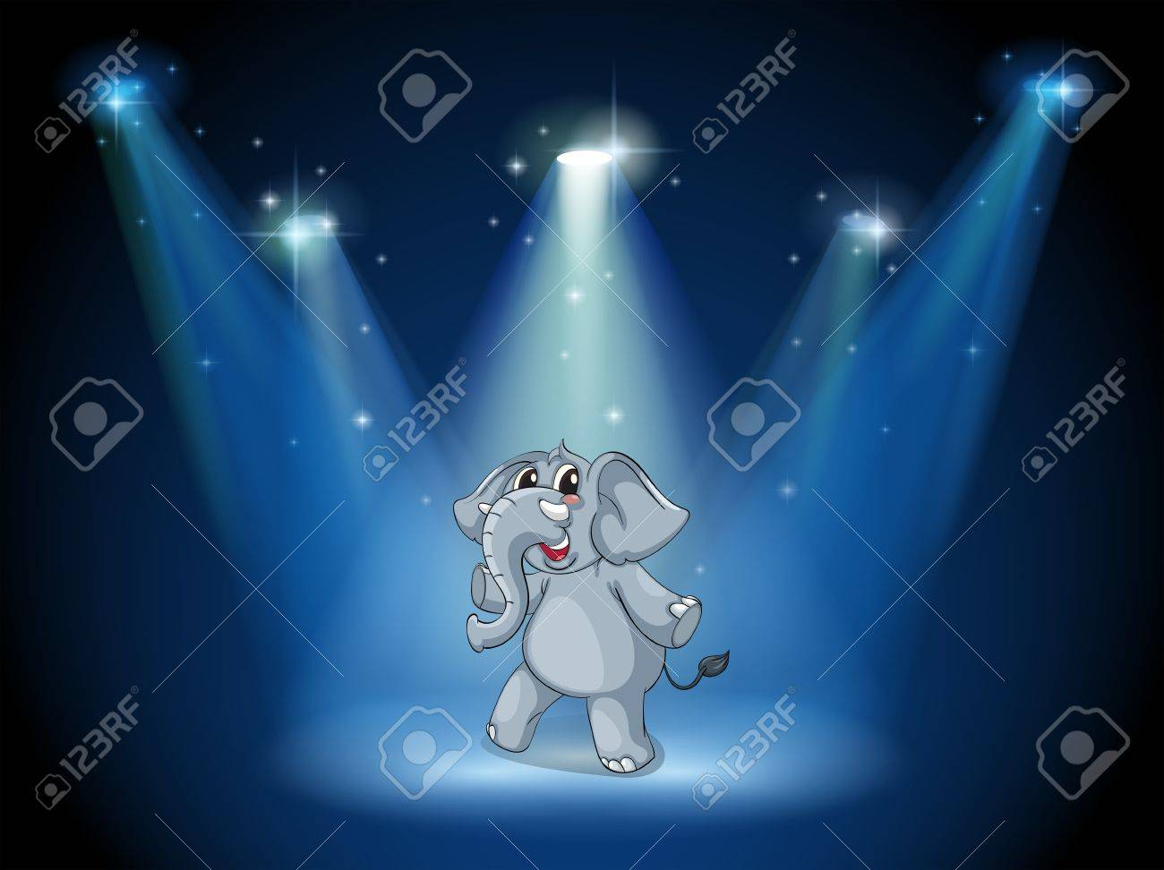 Illustration of an elephant dancing in the middle of the stage Stock Vector - 19873957