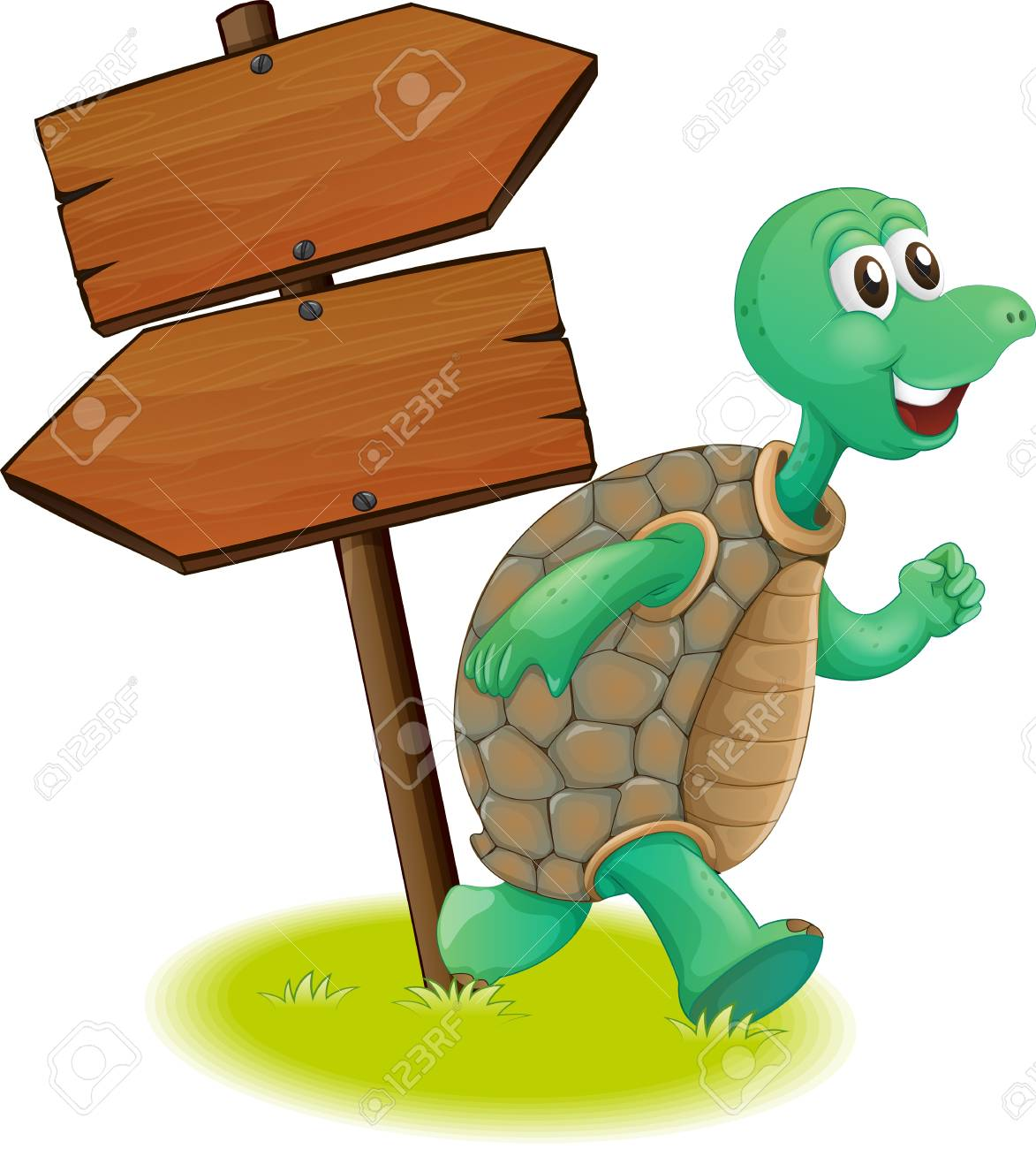 Illustration of a turtle beside the wooden arrowboards on a white background Stock Vector - 19873583