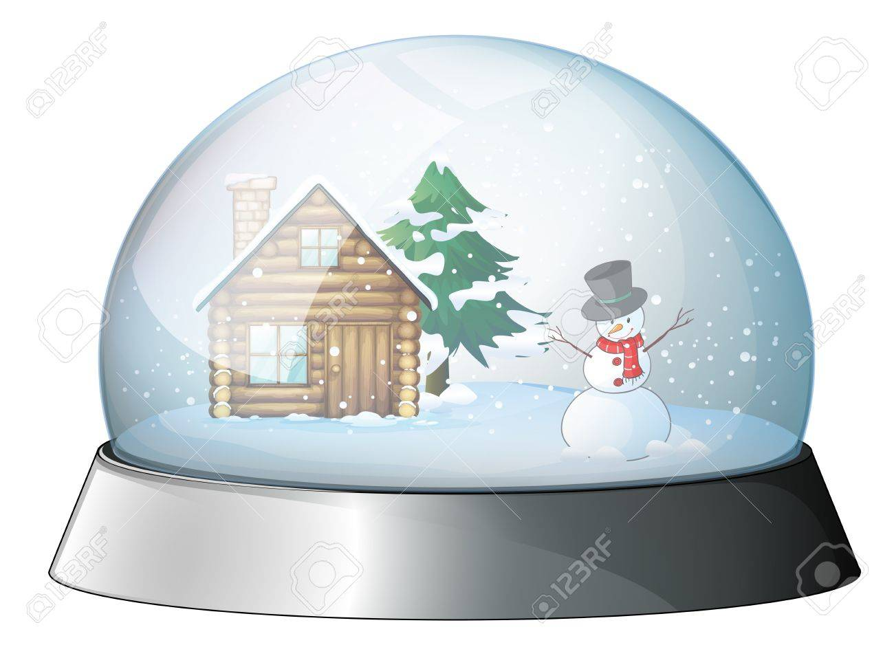 Illustration of a house and a snowman inside the crystal ball on a white background Stock Vector - 19874678