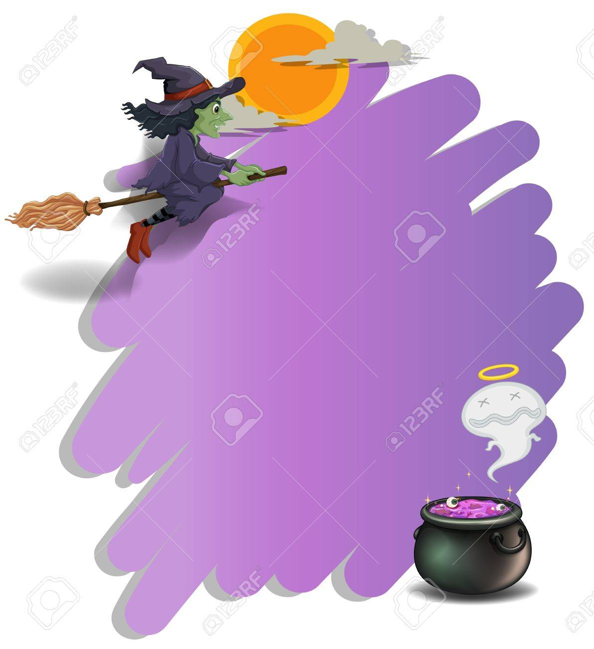 illustration of a witch riding on a broom and an empty violet
