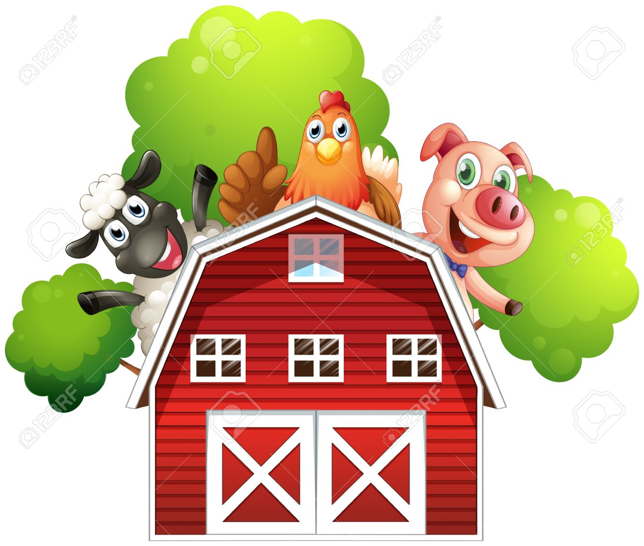 Illustration Of A Barn With Animals At The Rooftop On White Background Stock Vector