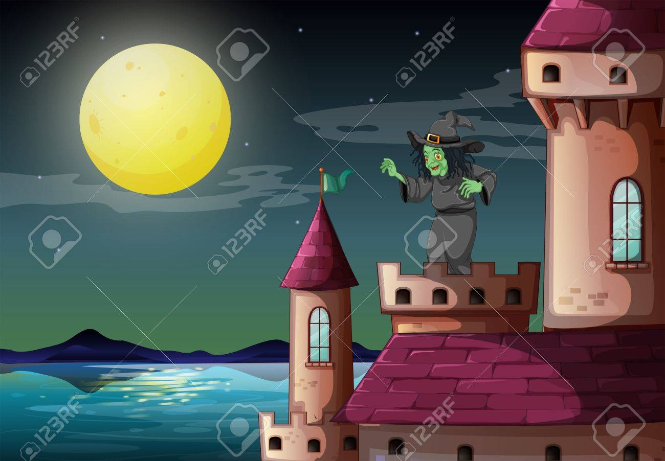 Illustration of a witch above the castle near the sea Stock Vector - 19959358