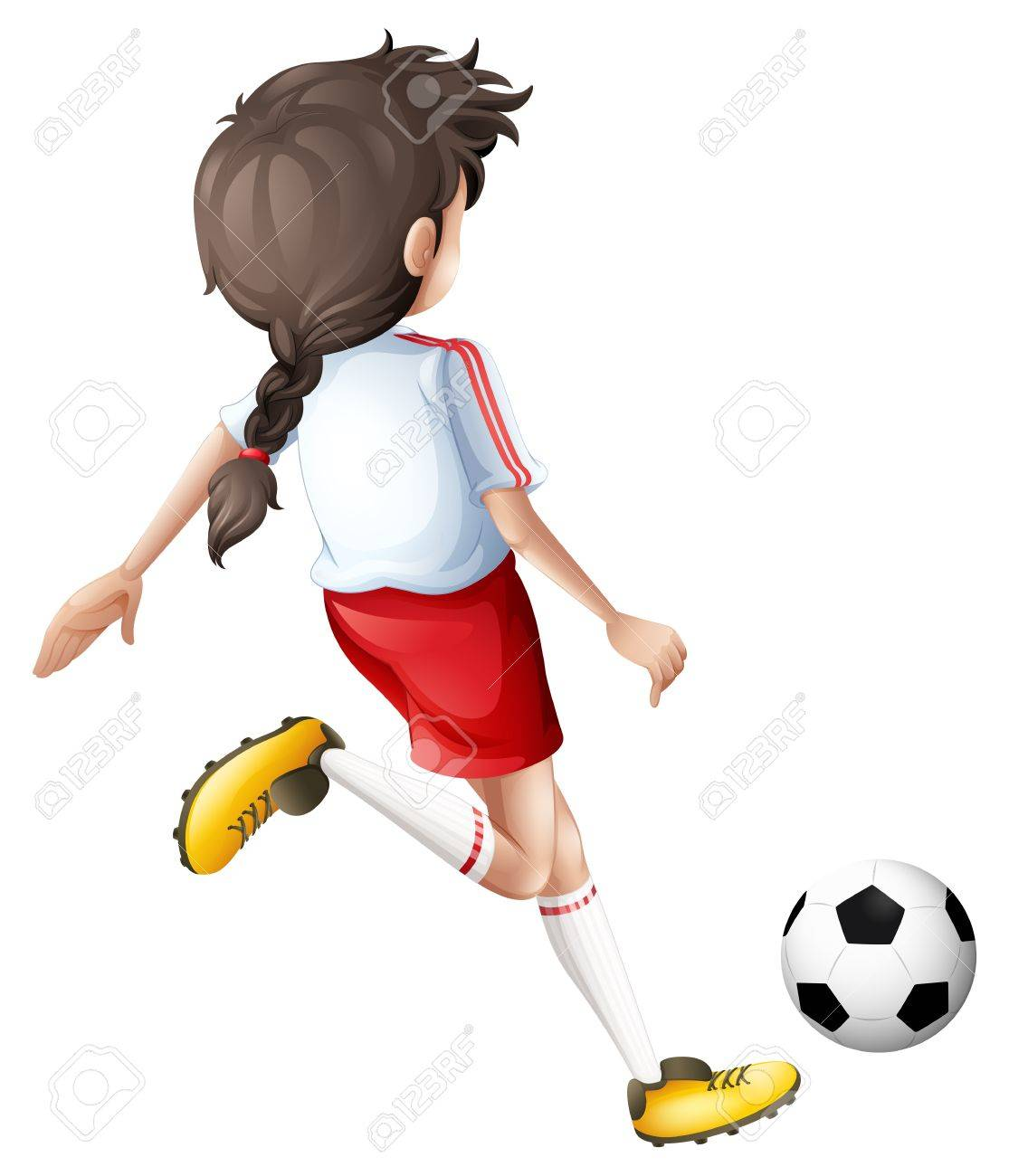 Illustration of a girl kicking a soccer ball on a white background Stock Vector - 19959213