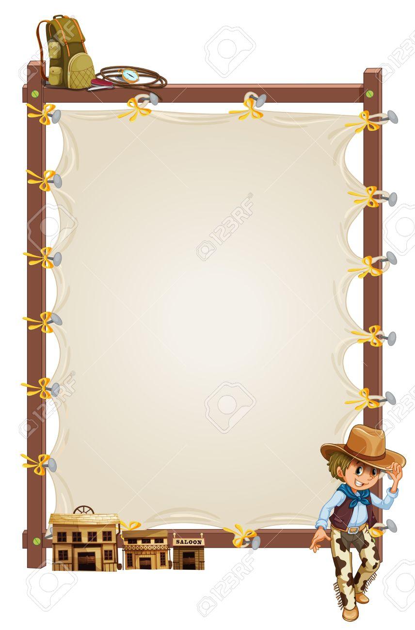 Illustration Eines Leeren Rahmen Banner Mit Einem Cowboy-und Salon ...