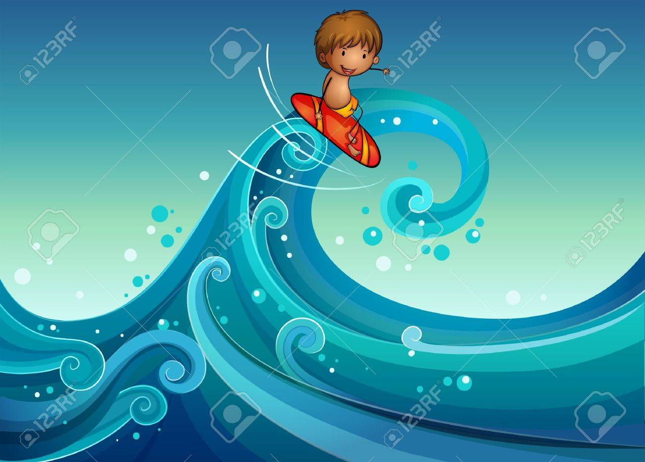 Illustration of a young boy surfing Stock Vector - 19959135