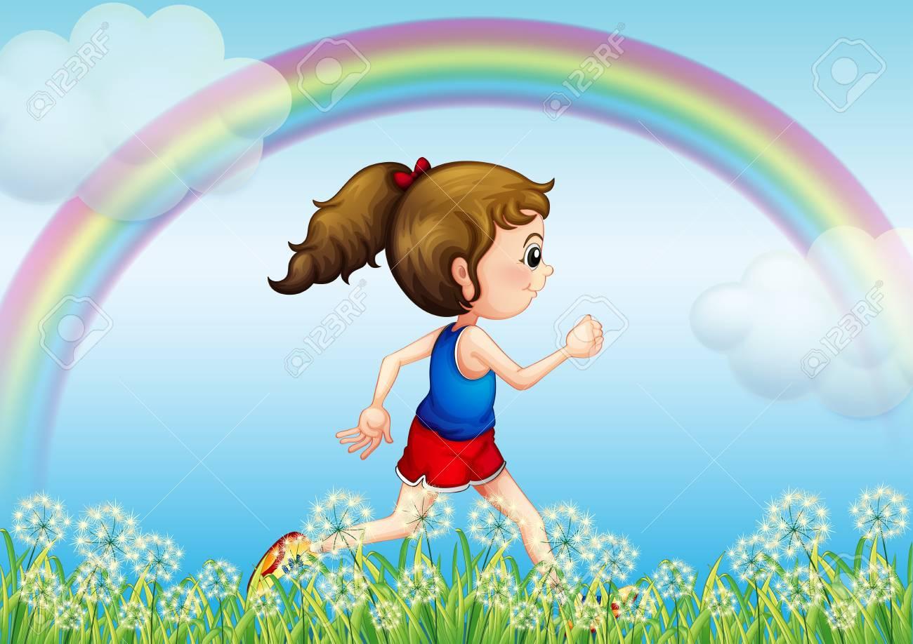 空に虹と実行している女の子のイラストのイラスト素材ベクタ Image