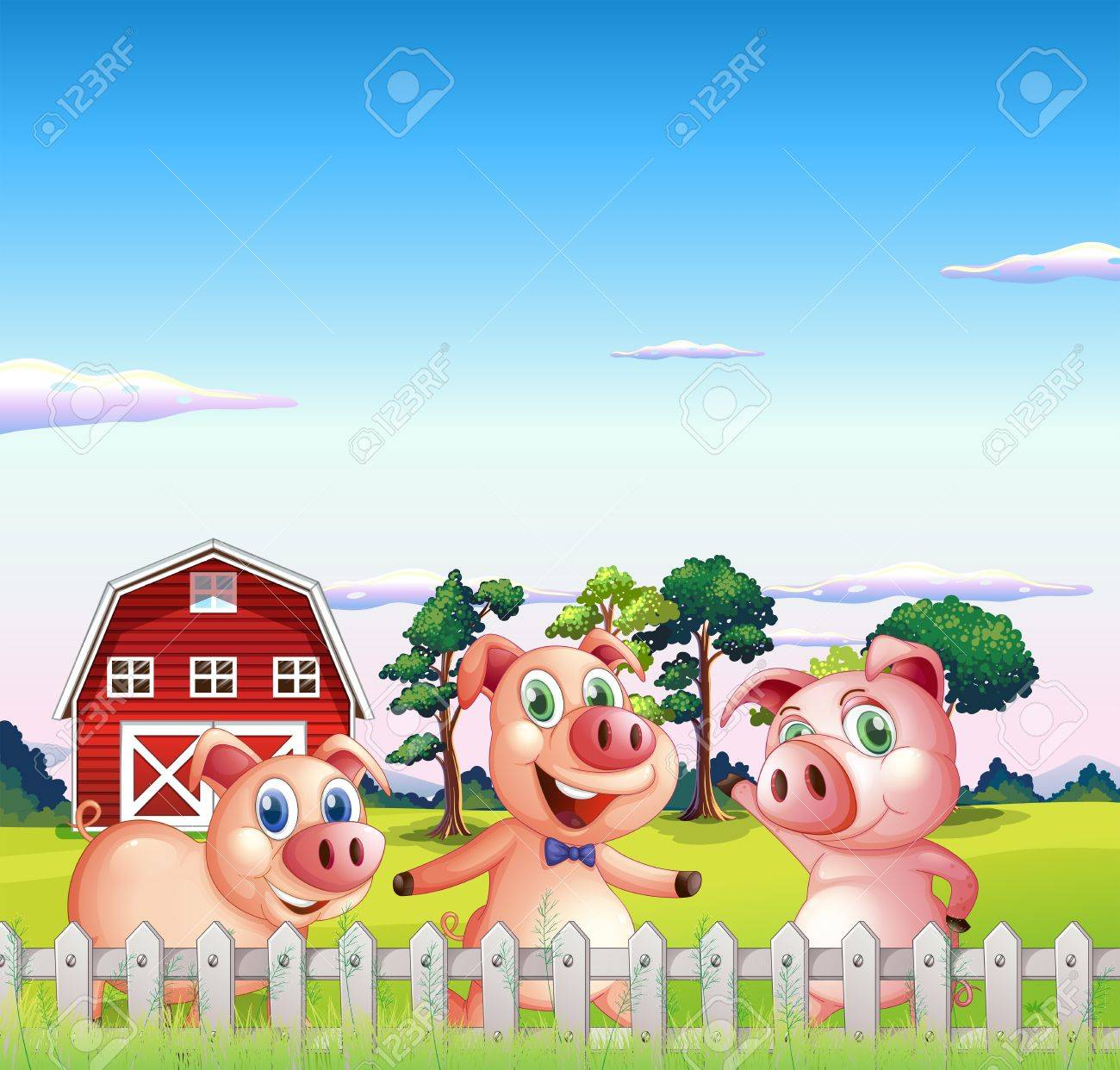 Illustration of the three pigs dancing inside the fence Stock Vector - 20140241