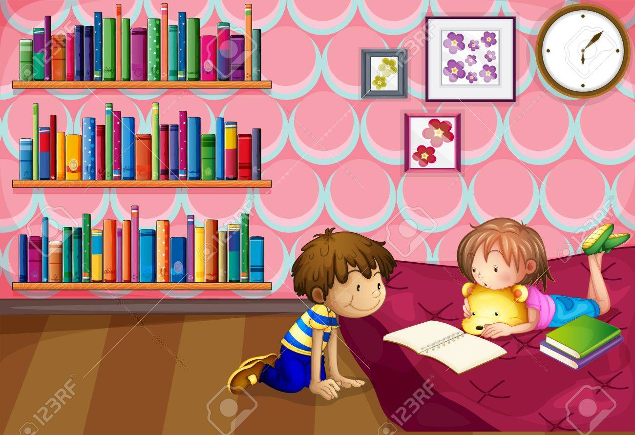 Illustration of a girl and a boy reading inside a room Stock Vector - 20140648