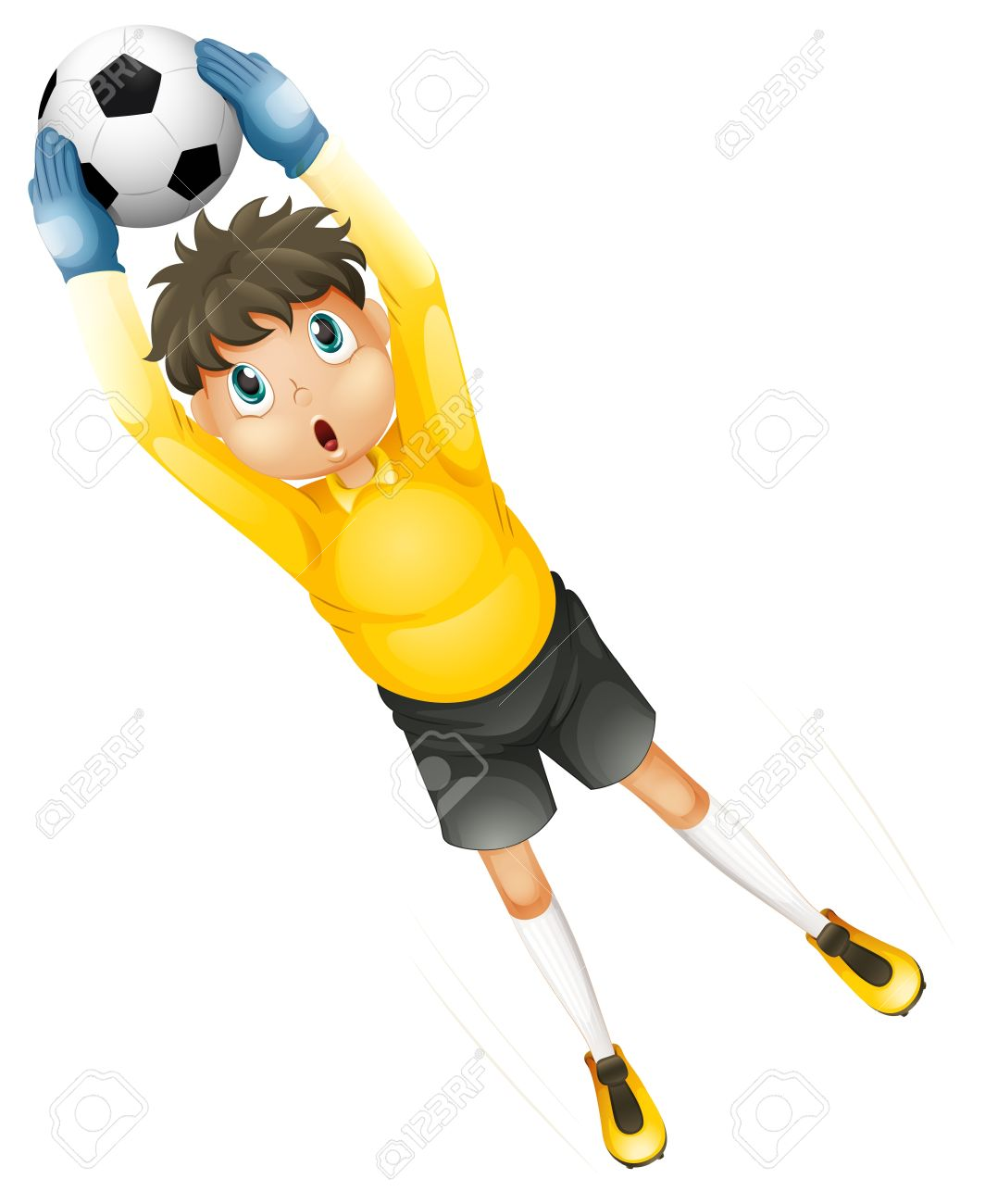 Illustration of a little football player catching the ball on a white background Stock Vector - 20140518