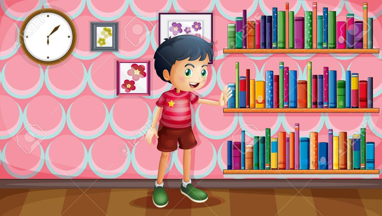 lllustration of a boy standing beside the wooden shelves with books Stock Vector - 20165660