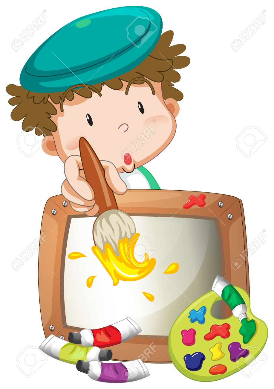 Illustration of a little boy painting on a white background Stock Vector - 20165658