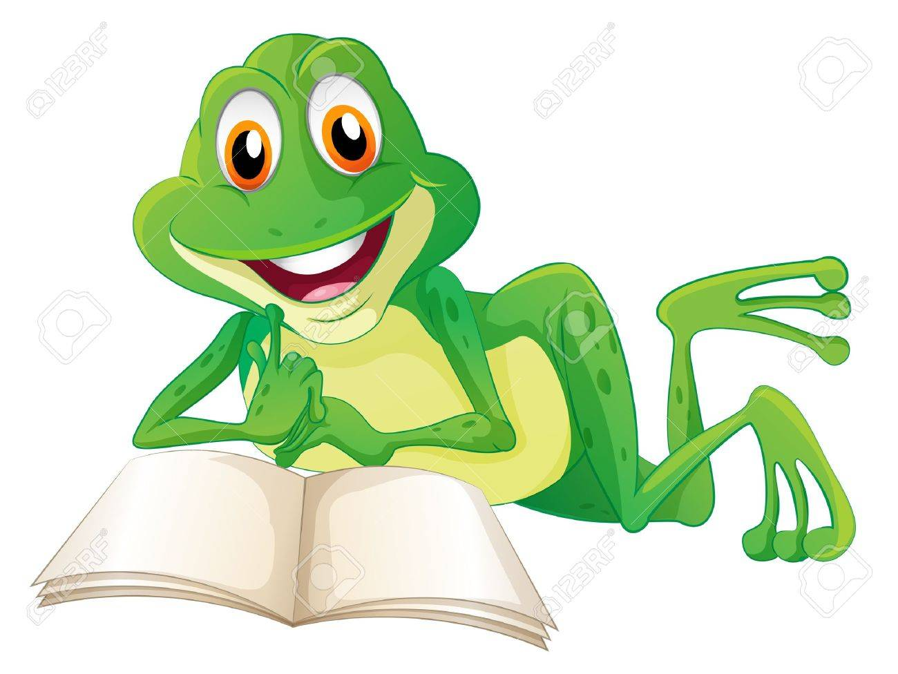 Illustration of a frog lying while reading a book on a white background Stock Vector - 20142993