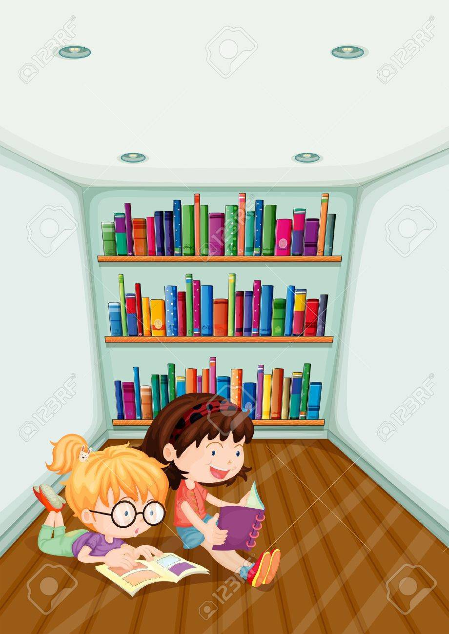 Illustration of the two girls reading inside the room on a white background Stock Vector - 20133890