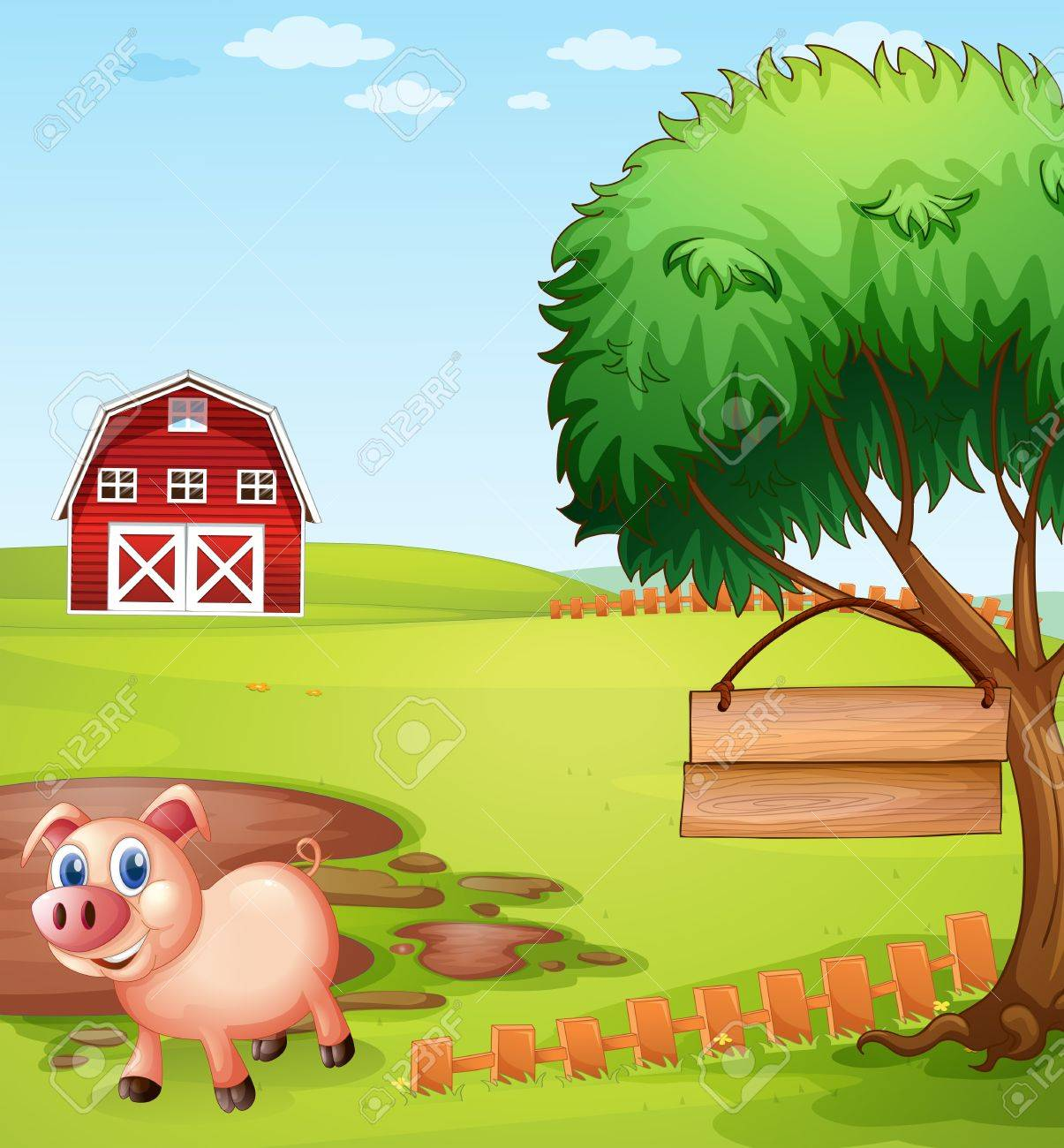Illustration of a pig near the tree with a hanging empty signboard Stock Vector - 20272832