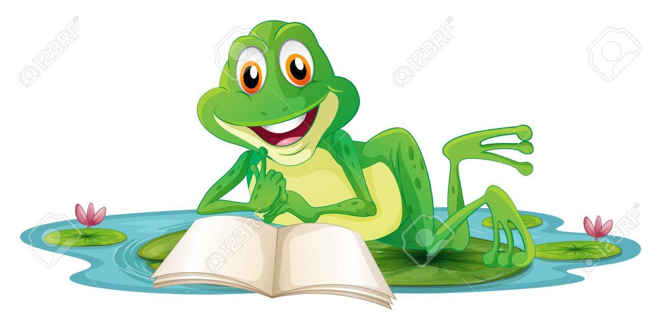 Illustration of a frog lying while reading a book on a white background Stock Vector - 20272817
