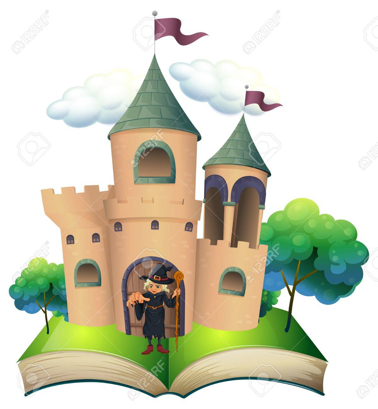 Illustration of a book with a castle and a witch on a white background Stock Vector - 20272995