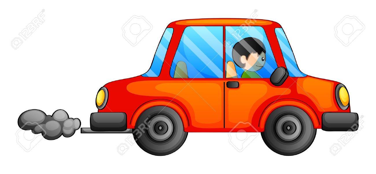 Illustration of an orange car emitting a dark smoke on a white background - 20272685