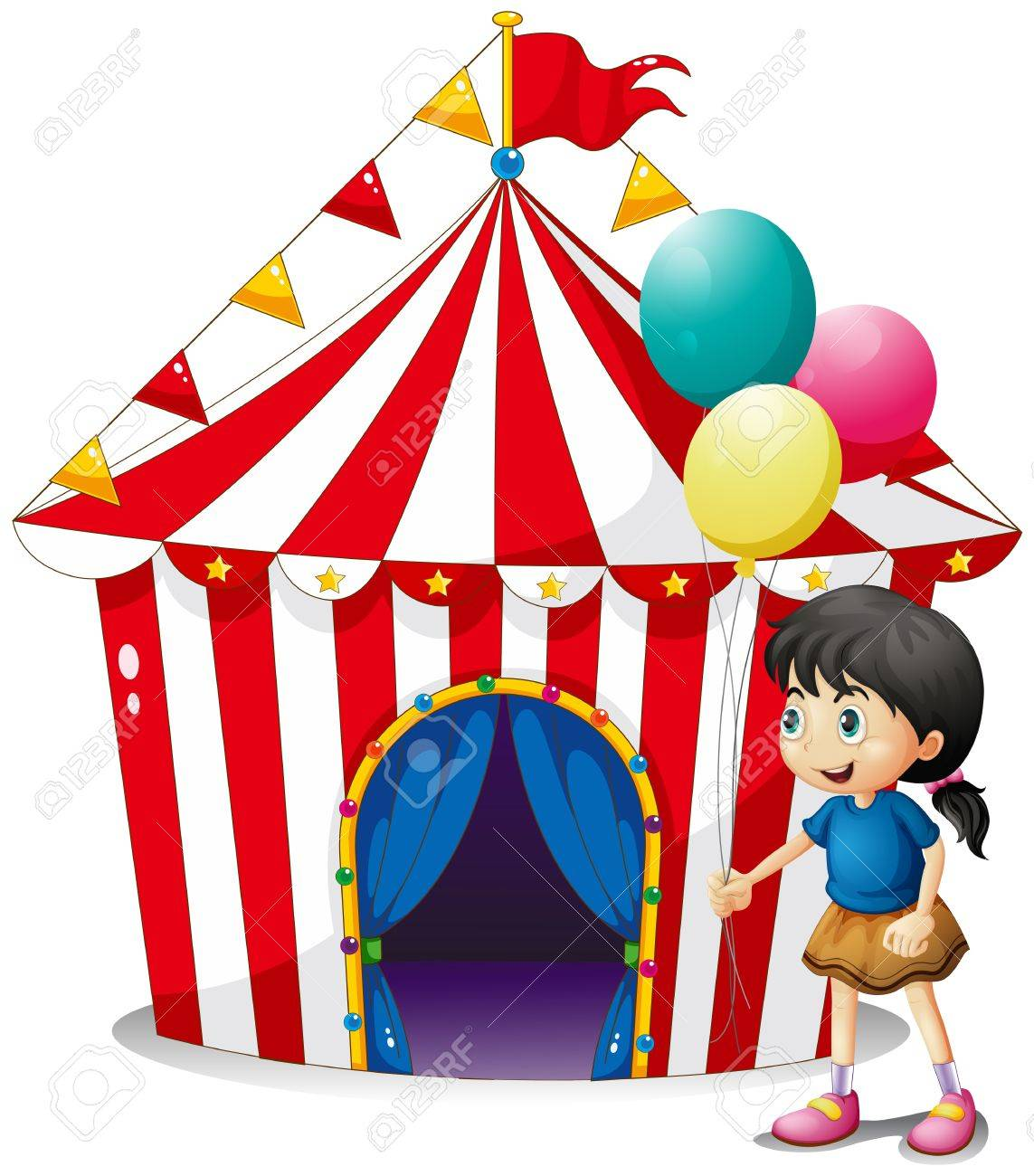 Illustration of a girl with balloons in front of the circus tent on a white background Stock Vector - 20272784