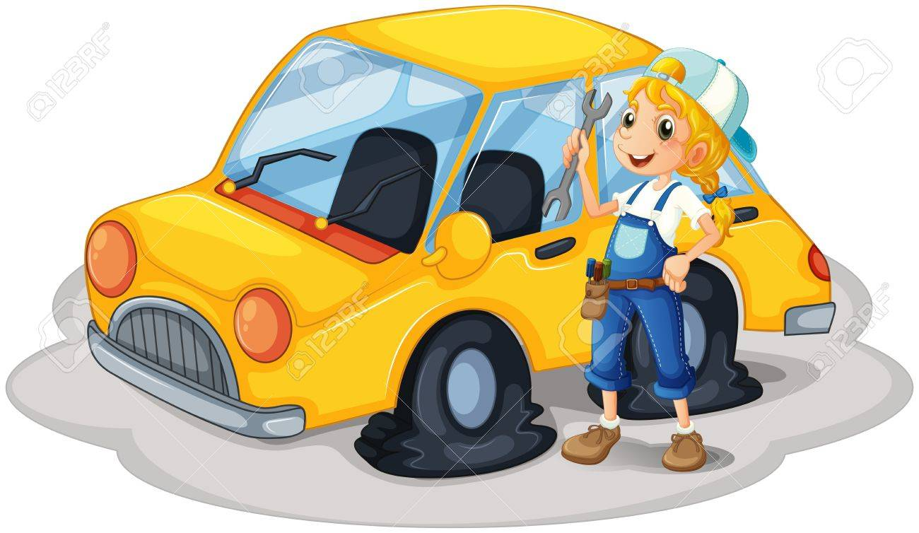 Illustration Of A Girl Holding A Tool Beside A Car With Flat