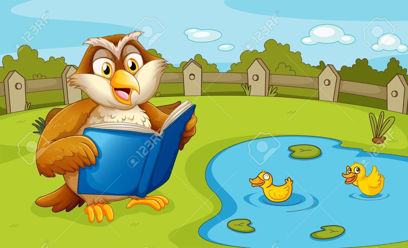 Illustration of an owl reading near the pond Stock Vector - 20272713