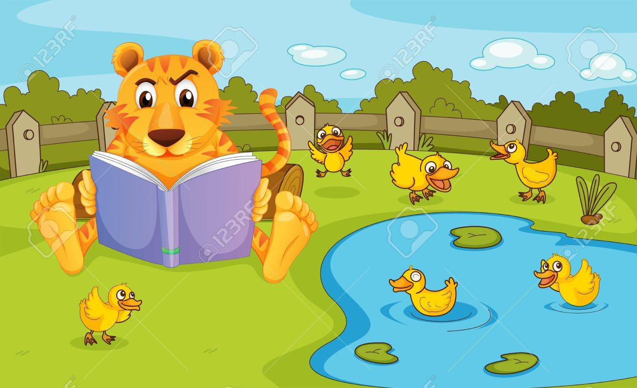 Illustration of a tiger reading beside a pond with ducklings Stock Vector - 20366380