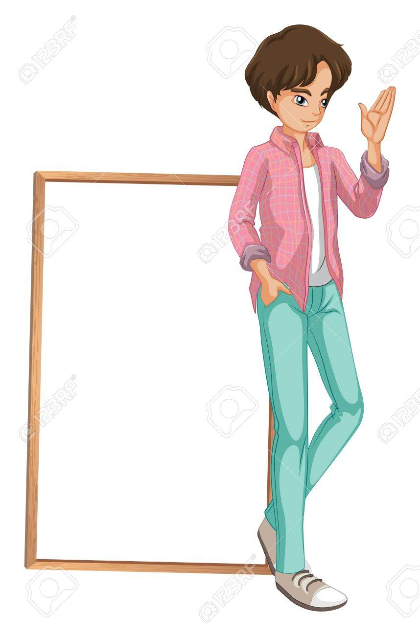 Illustration of a young boy waving on a white background Stock Vector - 20366394