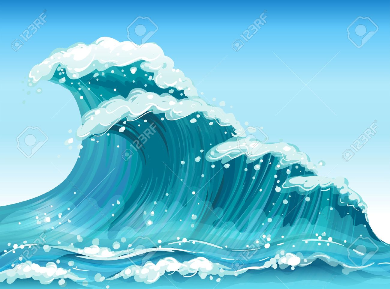 Illustration of the big waves Stock Vector - 20366708